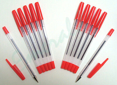 Red Biros - 12 Pack Red Ballpoint Medium Pens Various Colour Options
