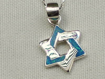 Star of David Blue Opal Pendant Necklace & 925 Silver Magen Israel Jewish