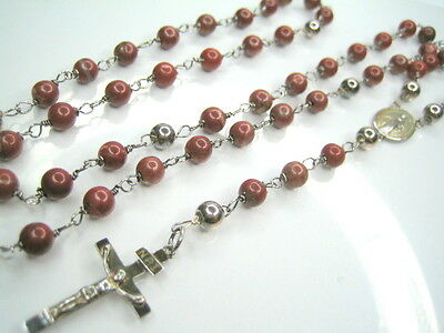 """ANTIQUE STERLING SILVER CATHOLIC ROSARY CRUCIFIX RED BEADS 30"""""""