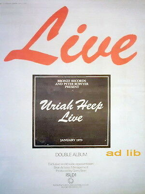 Uriah Heep - Live January 1973, Poster-Size Advert 1973 /ad/advertisement