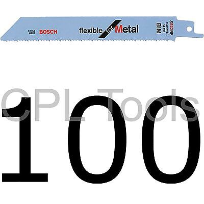 """100 Bosch S922BF Reciprocating Sabre Saw Blades 150mm / 6"""" Flexible for METAL"""