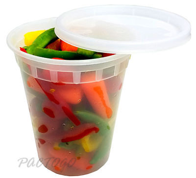 32 oz. Microwaveable Round Plastic Soup/Food Freezer Containers w/Lids 96 Pack