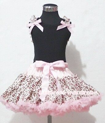 Light Pink Leopard Pettiskirt with Black Pettitop Top Ruffles Pink Bows Set 1-8Y