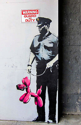 "Banksy's Guard on Duty - Los Angeles-24""x36"" Canvas Print Urban Graffiti"