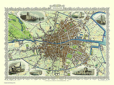 Map Of Dublin 1851 By John Tallis