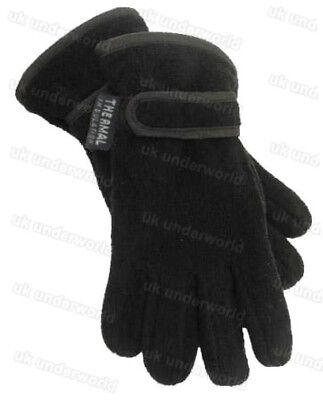 Girls Boys Kids Black Navy Thinsulate Lined Fleece Winter Warm Gloves Ages 6-13