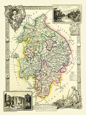 County Map Of Warwickshire 1836 By Thomas Moule