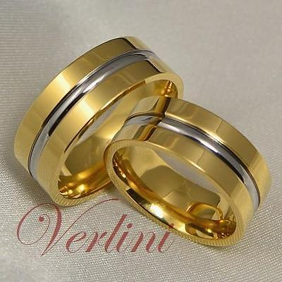 8MM Titanium Wedding Bands 14k Gold Rings Set Bridal Jewelry Silver Color Line