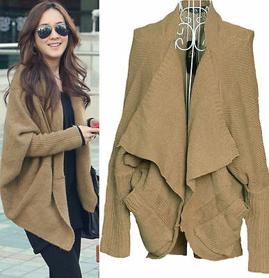 Khaki  Women Ladies Batwing Cape Poncho Knit Top Cardigan Coat Camel 1072K