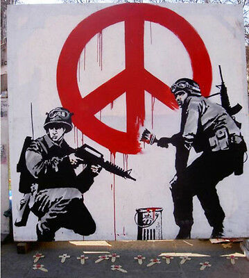 "Banksy-Peace Soldiers -18""x18"" Canvas Print Urban Graffiti"