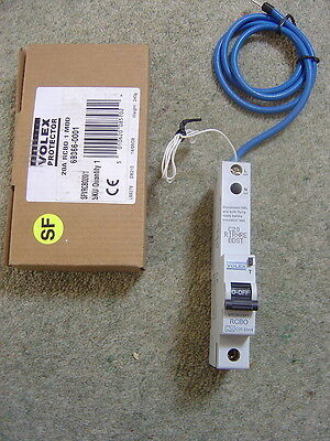 Volex 20A Type C RCBO 30mA Trip Single Pole SFVRCBO20/1 NEW