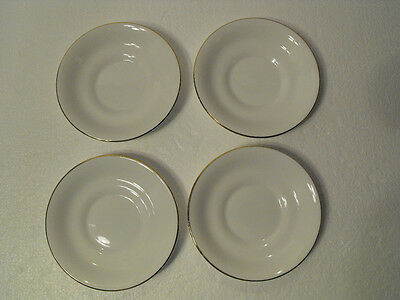 Four Tuscan English Bone China Mini Saucers White With Gold Accent Trim  #d2293