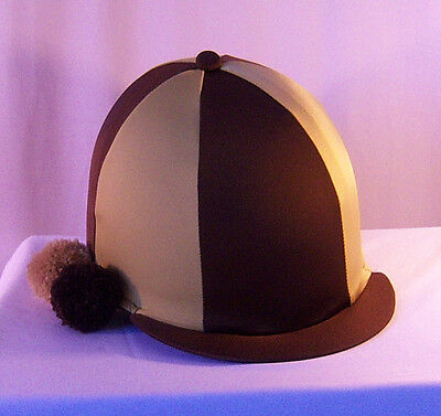Riding Hat Cover - Brown & Gold