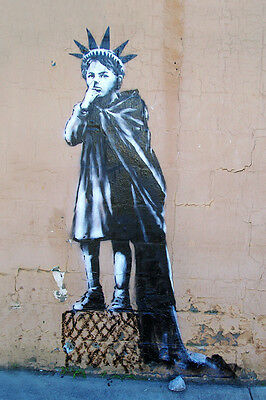 "Banksy - Statue of Liberty Kid- New York -24""x36"" Canvas Print Urban Graffiti"