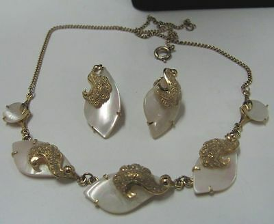 Vintage 1940-50's MOTHER OF PEARL LEAF necklace & EARRINGS