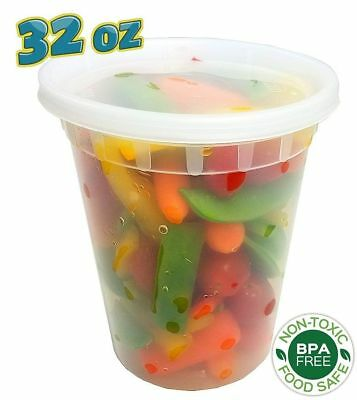240 Sets- 32 oz. Clear Plastic Soup/Food Containers w/Lids Combo (Microwaveable)