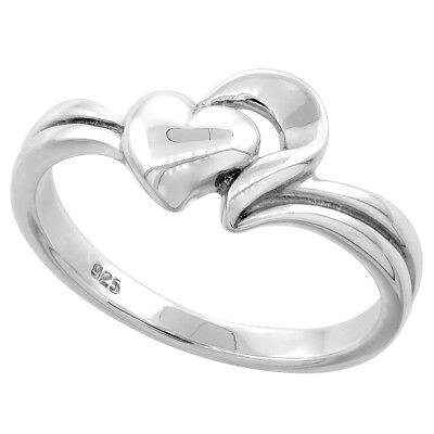 High Polished Flawless Quality Sterling Silver 2 Hearts Ring