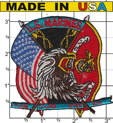 U.S. US USMC Marines Iron On Patch These Colors Never Run USA MADE