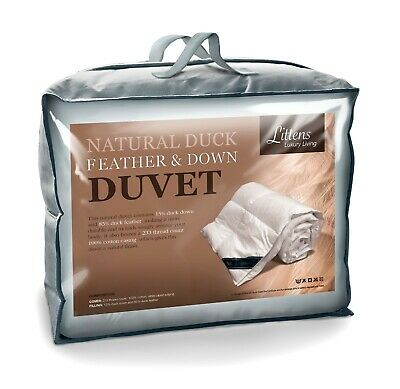 Double Bed Size - Luxury Duck Feather & Down Duvet 100% Cotton Casing 15% Down