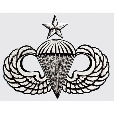 Us Army Airborne Senior Parachute Wings Sticker - Made In The Usa!!