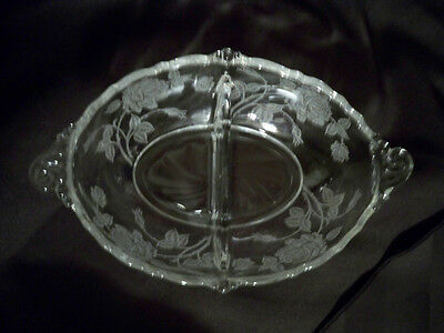 """Heisey Rose Divided Dressing Bowl 8"""" Etched"""