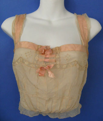 Antique Camisole Hand Sewn Button Back Pink Ribbon Ecru Underwear OOAK 1915