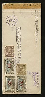 EL SALVADOR 1944 CENSORED REGIST.AIRMAIL to HOLLYWOOD via BROWNSVILLE AIR BASE