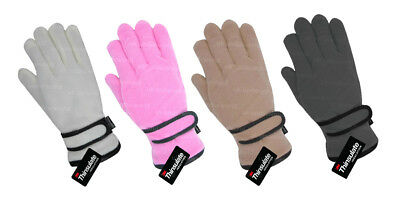 Girls Thinsulate Thermal Lined Fleece Gloves Pink,Grey,Cream Childrens Kids