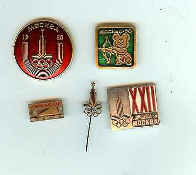 5 MOSCOW 1980 SUMMER XXII OLYMPICS PINS FREE SHIPPING VG CONDITION