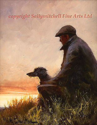 One Man and his Dog, Lurcher, poaching, fine art print by Mick Cawston