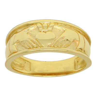 New Men's Sterling Silver or Yellow Gold Irish Celtic Claddagh Wedding Ring Band