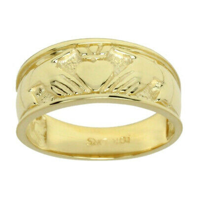 Ladies Sterling Silver or Yellow Gold Celtic Irish Claddagh Wedding Ring Band