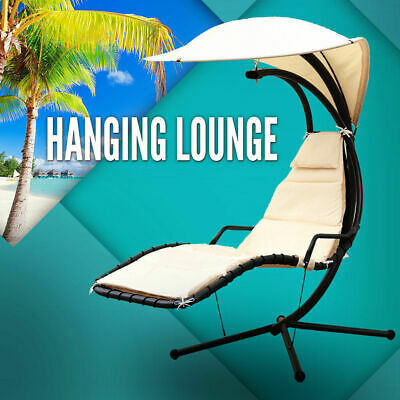 Outdoor Lounge Swing Chair Garden Hanging Lounge Chaise Canopy Deck Hammock Bed