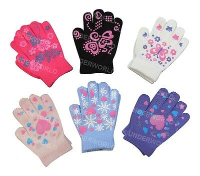 Childrens Girls Boys Fun Gripper Magic Gloves Kids Winter Warm