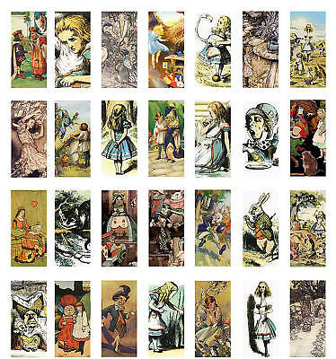 """Alice in Wonderland Collage Sheet Domino 1"""" x 2"""" Images"""