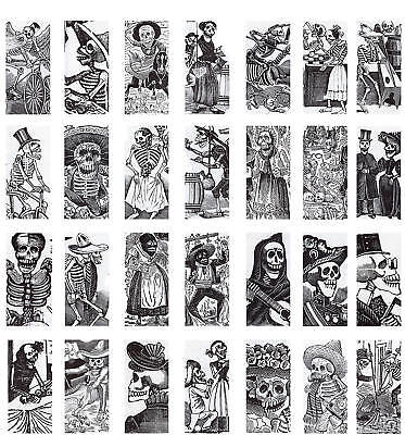 """Day of the Dead Collage Sheet Domino 1"""" x 2"""" Images x28"""