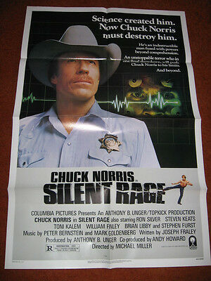 SILENT RAGE original MOVIE POSTER >1982 Chuck Norris marshall cop 1980's
