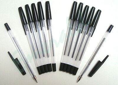 Black Biros - 12 Pack Black Ballpoint Medium Pens Various Colour Options