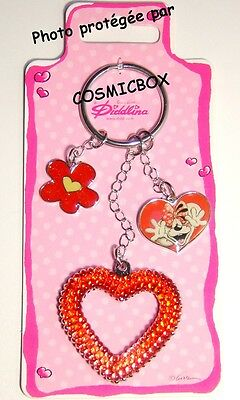 Porte clés métal DIDDL coeur rouge collection DIDDLINA keychain keyring NEUF