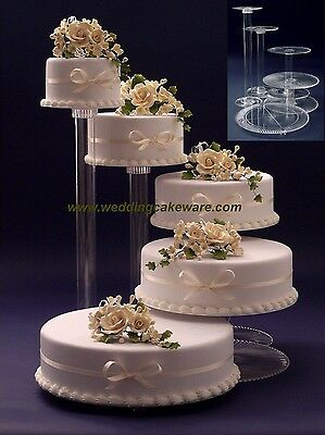 5 Tier Cascading Wedding Cake Stand Stands Set