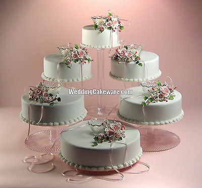 6 TIER CASCADE WEDDING CAKE STAND STANDS SET