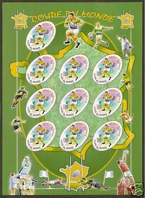 NEW CALEDONIA 2007 RUGBY WORLD CUP SHEETof 10 MNH.