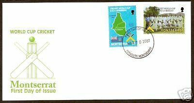 MONTSERRAT 2007 ICC CRICKET WORLD CUP Set 2v FDC  Flag