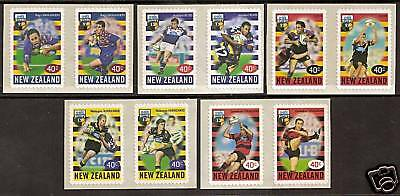 NEW ZEALAND 1999 RUGBY SUPER 12 Set of 5 PAIRS MNH