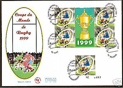France 1999 Rugby World Cup Fdc 5 Stamps Postmarks