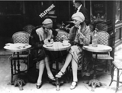 2 WOMEN PARIS Cafe FRENCH Vintage CANVAS Antique PHOTO Giclee Art Print - LARGE