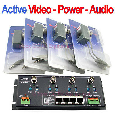 4 Channel Active Video Power Audio Balun BNC over Cat5/6 UTP for CCTV Camera DVR