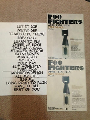 FOO FIGHTERS Japan Live flyer/set list DAVE GROHL LOTS MORE Fighters& Nirvana