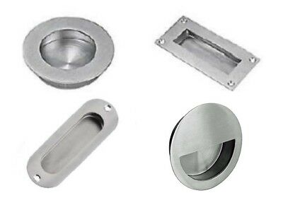 Flush / Recessed Pull Sliding Door Handle Polished or Satin Stainless Steel