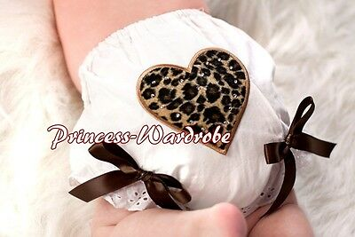 Leopard Heart Printing with Various Bows Pure White Pantie Bloomer 4 Skirt 6m-3Y